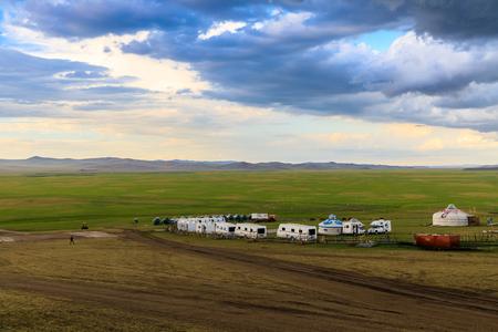 Inner Mongolia Hulunbeier Mojgele Mongolian tribal caravan camp Stock Photo