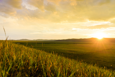 Inner Mongolia Hulunbeier Mongolia prairie sunset
