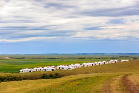 Inner Mongolia Hulunbeier Bayan Huoshu Mongolian tribes yurts Stok Fotoğraf - 96280018
