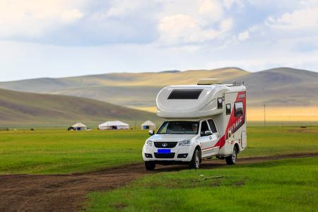 Inner Mongolia Hulunbeier Mojgele Mongolian tribal caravan camp Editorial