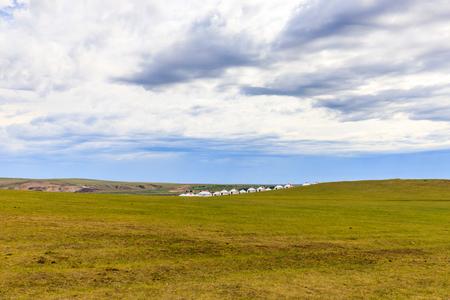 Inner Mongolia Hulunbeier grassland with yurts