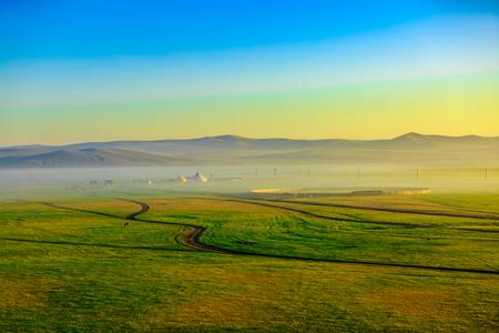 Inner Mongolia Hulunbeier prairie sunrise