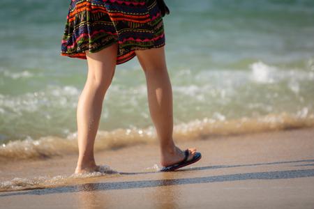 woman walking at the sanya beach