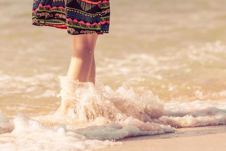 woman walking on hainan beach