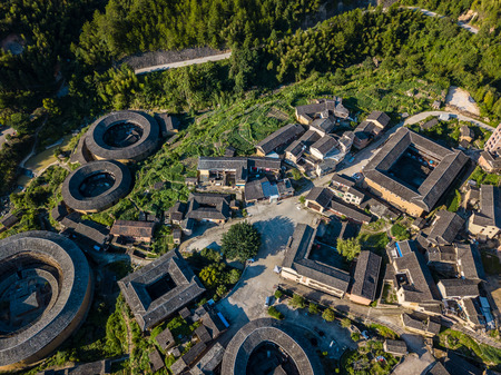 Aerial photography of Fujian Chuxi Hakka Tulou Group Фото со стока