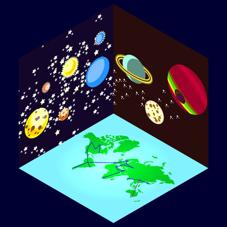 locomotion: three kinds of color space isometric. the earth from space.