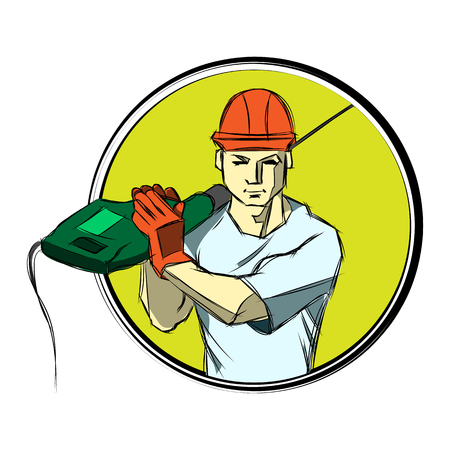 craftsmen repair: Engineer worker in a helmet with a drill on the shoulder.