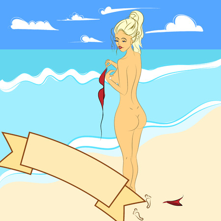 topless women: illustration of a naked girl on the beach, which removes her bra. Woman on the sea. Sunny weather.