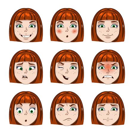 agape: A set individuals cartoon girl. Different emotions girl. Illustration