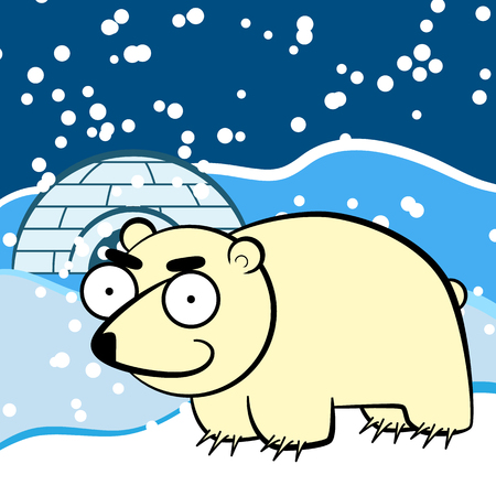 Cartoon white polar bear in the Arctic, stands beside the needle.