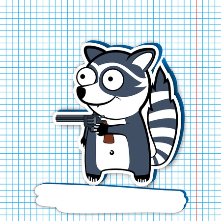 comedian: cartoon raccoon holding a revolver in his hand. Comedian beast thief. background in the cell. Hands up!