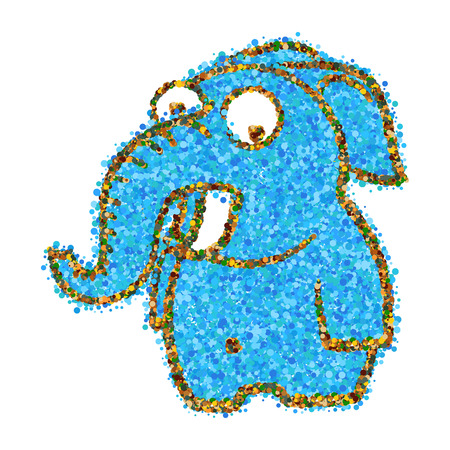 abstract blue cartoon elephant of dots and circles