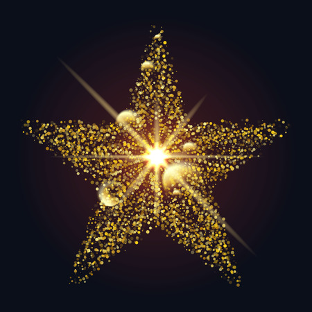 shining star: shining star of dots and circles on a dark background. holiday design element. Illustration