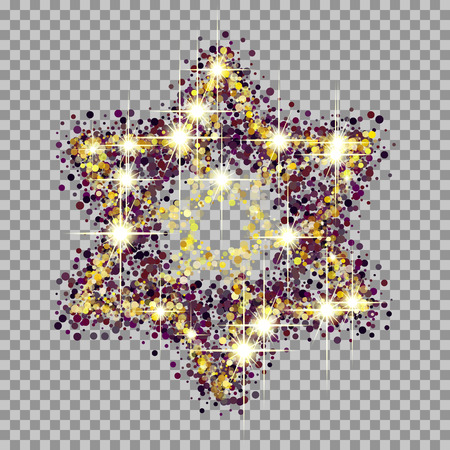 hebrew bible: A beautiful symbol of the Jewish star. glow and glitter effects.