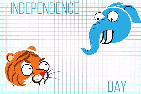 feast day: Abstract background with Indian animals. The tiger and the elephant. Background for the feast day of independence