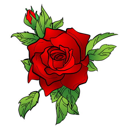 illustration of a red rose. Tattoo new style.
