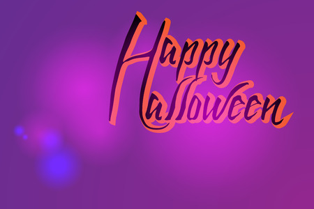 Halloween card on a purple background.
