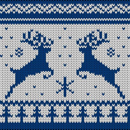 Azul Blanco Ciervos Suéter De Punto En Estilo Noruego. Ornamento ...