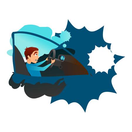 Boy into a car crash. Flat cartoon vector illustration.