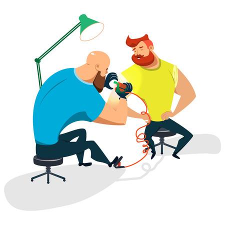 Tattoo master makes a guy a tattoo. Cartoon illustration of a flat design. Vector Image.