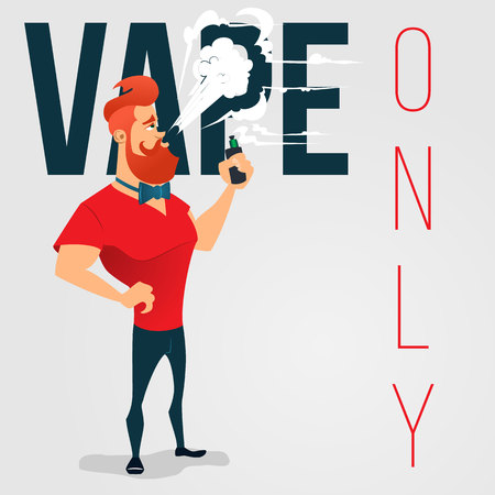 vaporize: cartoon advertising background for vape store. A man with a beard smokes electronic cigarette. No smoking area Illustration