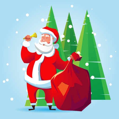 Santa Claus with a bag of gifts and a bell. Cartoon illustration for Christmas.