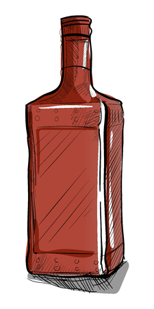rum: Hand-drawn bottle for alcoholic beverages. The rectangular shape. Vector illustration.