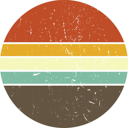 Vintage Retro Striped Sunset Circle Art Graphic you can edit and use in your projects (t-shirt, POD, book cover…).