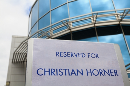 milton: MILTON KEYNES, UK - JULY 9: Parking sign marks spot reserved for Christian Horner in front of Red Bull Racing HQ on July 9, 2012 in Milton Keynes. Christian Horner is team principal since 2005. Editorial