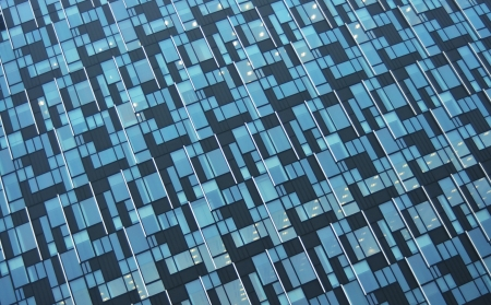modern blue glass wall of skyscraper photo