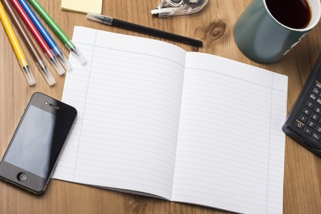note pad: Empty Note Pad On Wooden Table - with office  tools