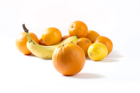 isoleted: Fruit pile isoleted on white - horizontal image