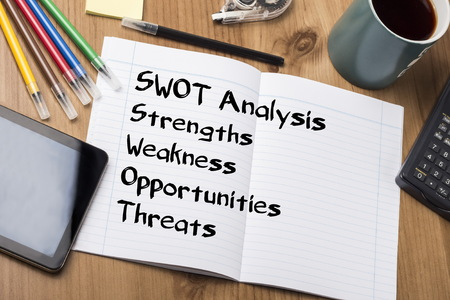 SWOT Analysis - Note Pad With Text On Wooden Table - with office  tools