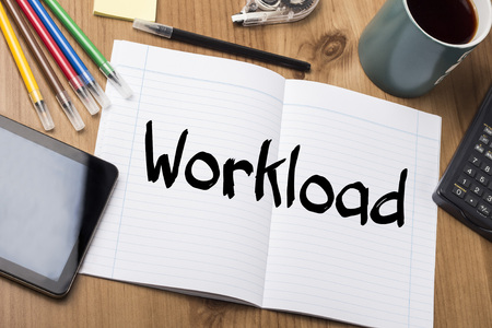 workload: Workload - Note Pad With Text On Wooden Table - with office  tools Stock Photo