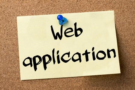 web application: Web application - adhesive label pinned on bulletin board - horizontal image Stock Photo