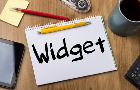 widget: Widget - Note Pad With Text On Wooden Table - with office  tools Stock Photo