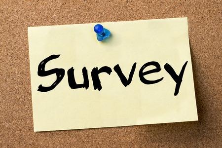 summarize: Survey - adhesive label pinned on bulletin board - horizontal image Stock Photo