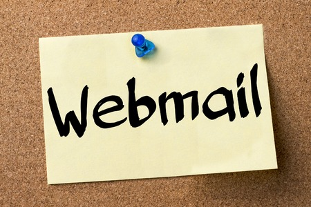 webmail: Webmail - adhesive label pinned on bulletin board - horizontal image Stock Photo
