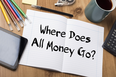 where to go: Where Does All Money Go? - Note Pad With Text On Wooden Table - with office  tools