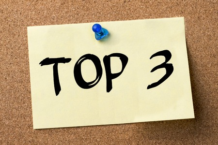 TOP 3 - adhesive label pinned on bulletin board - horizontal image 写真素材