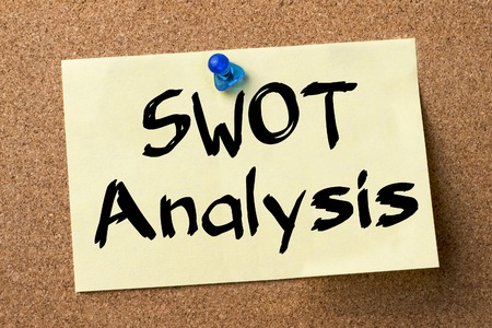 foda: SWOT Analysis - adhesive label pinned on bulletin board - horizontal image