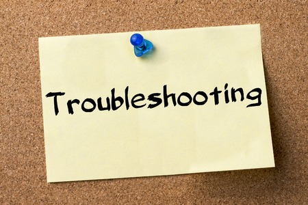 solucion de problemas: Troubleshooting - adhesive label pinned on bulletin board - horizontal image