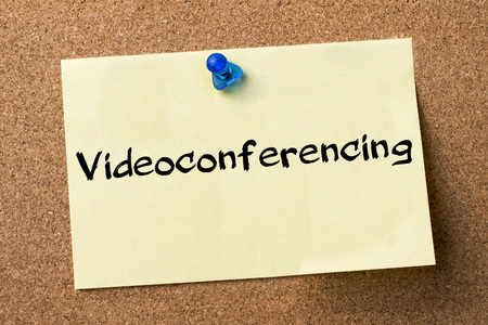 videoconferencing: Videoconferencing - adhesive label pinned on bulletin board - horizontal image Stock Photo