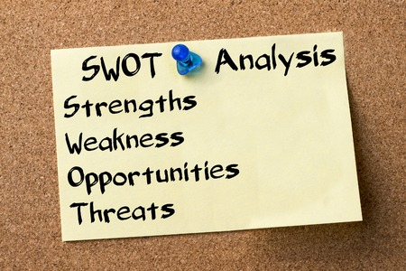 swot: SWOT Analysis - adhesive label pinned on bulletin board - horizontal image