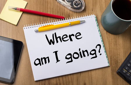 i pad: Where am I going? - Note Pad With Text On Wooden Table - with office  tools