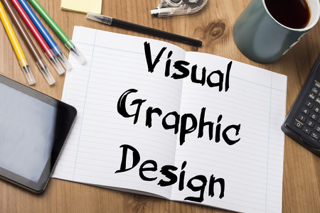 note pad: Visual Graphic Design - Note Pad With Text On Wooden Table - with office  tools