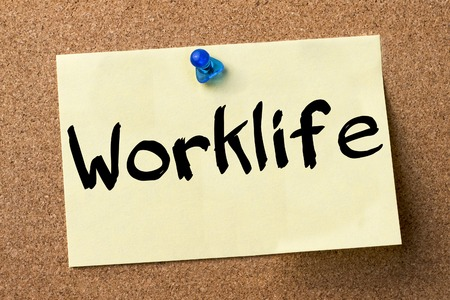 bulletin: Worklife - adhesive label pinned on bulletin board - horizontal image Stock Photo