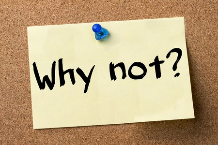 why not: Why not - adhesive label pinned on bulletin board - horizontal image