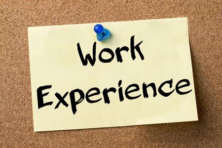 Work Experience - adhesive label pinned on bulletin board - horizontal image 写真素材