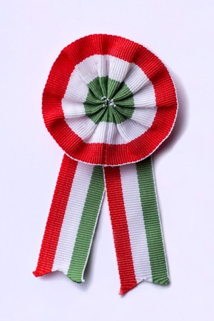 Hungarian cockade on white background - vertical image